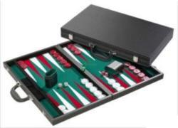 Backgammon 46cm-es, fekete műbőr koffer (605513)