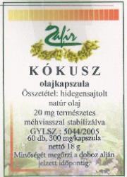 Zafír Kókusz olajkapszula - 60 db