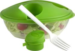 Salátástál fedéllel, salátaöntet tartóval és villával, világoszöld (KHMU128)