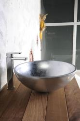 SAPHO Murano üvegmosdó, ezüst 40x13 cm (AL5318-52)
