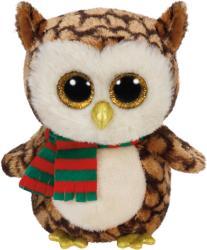 TY Inc Beanie Boos: Wise - Baby bufnita maro cu fular 24cm (TY36998)