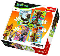 Trefl Zootropolis: Állati nagy balhé 4 az 1-ben puzzle (34258)