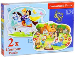 Castorland Hófehérke és a hét törpe 15 és 9 db-os sziluett puzzle (B-020041)