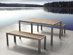 Beliani Polywood - NARDO alumínium kerti garnitúra - 180 cm-es asztal - 2 pad