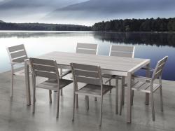 Beliani Polywood - VERNIO alumínium kerti garnitúra - 180 cm-es asztal - 6 szék