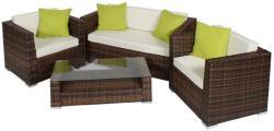 Polyrattan és alumínium luxus ülőgarnitúra, 4 extra párnával