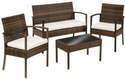 Polyrattan ülőgarnitúra (2 szék, 1 pad, 1 asztal)