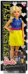 Mattel Barbie - Fashionistas divatos babák - Farmer felsővel és sárga szoknyával