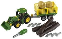Klein Tractor John Deere cu remorca pentru lemne (TK3906)