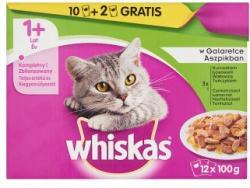Whiskas 1+ Halas és Húsos Válogatás teljes értékű állateledel felnőtt macskák számára 12 x 100 g