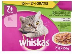 Whiskas 7+ Halas és Húsos Válogatás teljes értékű állateledel 7 éves vagy idősebb macskáknak 12 x 100 g