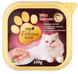 TESCO Delicious teljes értékű állateledel pástétom felnőtt macskák számára lazaccal 100 g