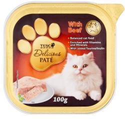 TESCO Delicious teljes értékű állateledel pástétom felnőtt macskák számára marhával 100 g