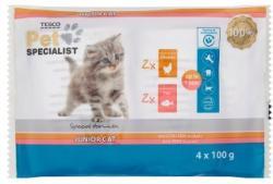 TESCO Pet Specialist teljes értékű állateledel kölyök macskák számára kétféle ízesítésben 4 x 100 g