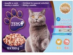TESCO Teljes értékű állateledel felnőtt macskák számára csirkével és lazaccal szószban 12 x 100 g