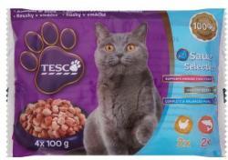 TESCO Teljes értékű állateledel felnőtt macskák számára csirkével és lazaccal szószban 4 x 100 g