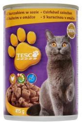TESCO Teljes értékű állateledel felnőtt macskák számára csirkével szószban 415 g