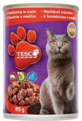 TESCO Teljes értékű állateledel felnőtt macskák számára marhával szószban 415 g