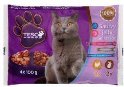 TESCO Teljes értékű állateledel felnőtt macskák számára nyúllal és csirkével 4 x 100 g