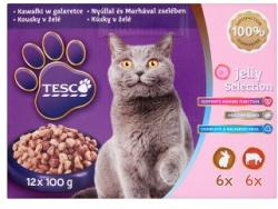 TESCO Teljes értékű állateledel felnőtt macskák számára nyúllal és marhával zselében 12 x 100 g