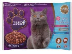 TESCO Teljes értékű állateledel felnőtt macskák számára nyúllal és marhával zselében 4 x 100 g