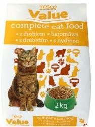 TESCO Value teljes értékű állateledel felnőtt macskák számára baromfival 2 kg