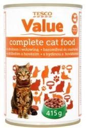 TESCO Value teljes értékű állateledel felnőtt macskák számára baromfival és marhával szószban 415 g