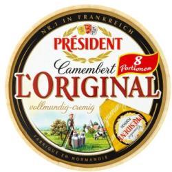 PRÉSIDENT Camembert L'original Fehér Nemespenésszel Érlelt Zsíros Lágy Sajt (250g)