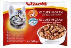 Claude Teljes értékű állateledel felnőtt macskák számára kétféle ízben 4 x 100 g