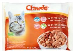 Claude Teljes értékű állateledel felnőtt macskák számára kétféle ízben 6 x 100 g