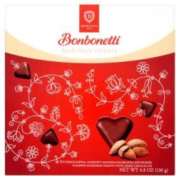 Bonbonetti Étcsokoládés marcipán szívek 136g
