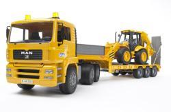 BRUDER Camion MAN TGA cu remorca si excavator JCB 4CX (2776)