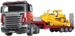 BRUDER Camion Scania Seria-R cu platforma si bulldozer Caterpillar (3555)