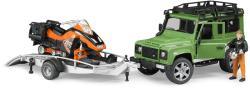 BRUDER Land Rover Defender cu snowmobil si sofer (2594)