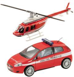 Mondo Tűzoltó Fiat Bravo és helikopter 1:43