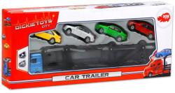Dickie Toys City kék autó trailer 4 autóval