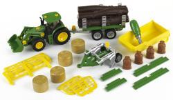 Klein John Deere traktor többféle szállítmánnyal