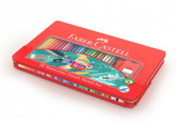 Faber-Castell Creioane colorate acuarela eco 48 buc/set + 4 accesorii FABER-CASTELL, cutie metal, FC115933
