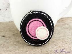R. M. ékszer Gyapjúfilc fekete és rózsaszín halmaz medál (7878)