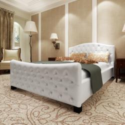 vidaXL Luxus műbőr ágy, matraccal 140x200cm