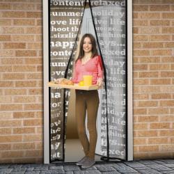 Delight Mágneses szúnyogháló függöny ajtóra, 100x210cm - feliratos minta (11398B)