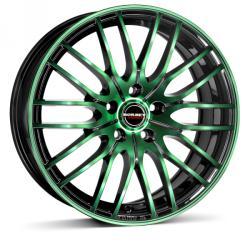 Borbet CW4 black green glossy CB56.6 4/100 17x7 ET38