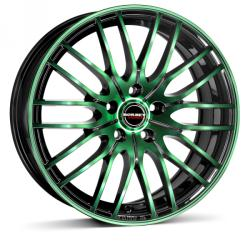 Borbet CW4 black green glossy 5/112 17x8 ET48
