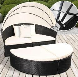 Luxus polyrattan nyugágy, napozóágy napfénytetővel