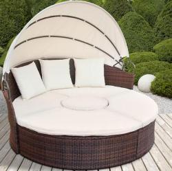 Luxus polyrattan nyugágy, ülőgarnitúra napfénytetővel, asztallal