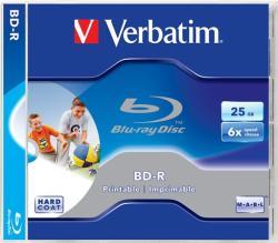Verbatim BD-R BluRay lemez, nyomtatható, 25GB, 6x, normál tok, VERBATIM (BRV-6N)