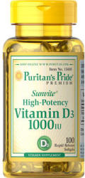 Puritan's Pride Vitamin D-3 1000 IU kapszula - 100 db