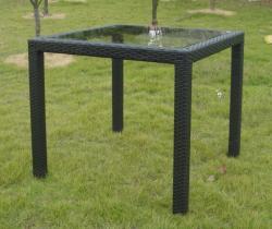 Rattan asztal, üveglappal 80x80cm