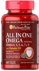 Puritan's Pride All In One Omega+D3-vitamin kapszula - 60 db