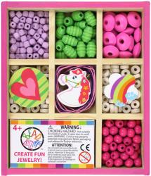 Bead Bazaar Mini gyöngykészlet fa dobozban - vidám